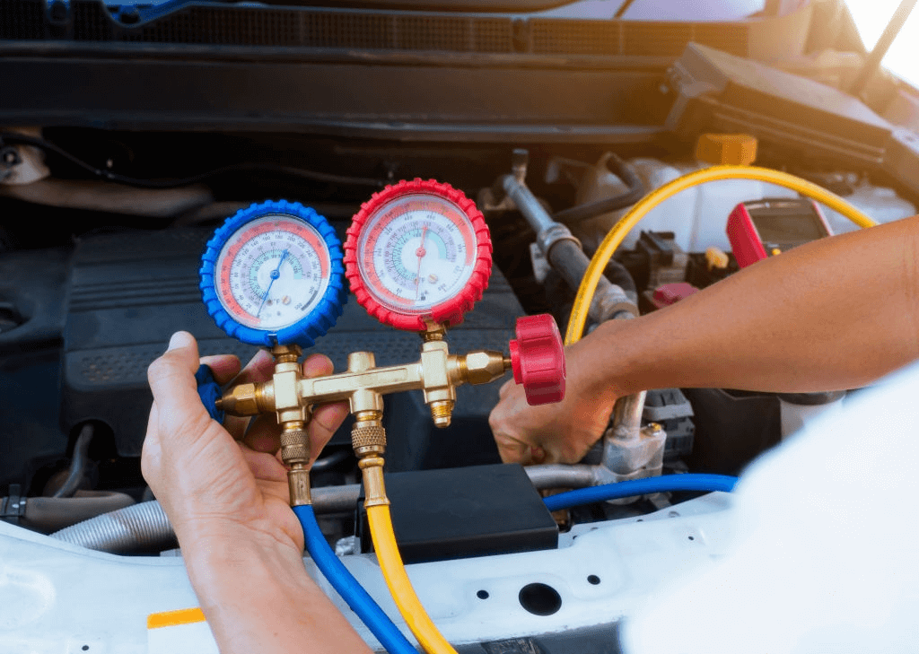 pengecekan tekanan freon pada ac mobil